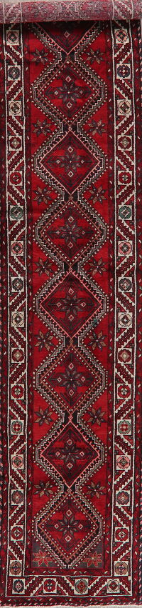 Geometric Red Malayer Persian Runner Rug 3x13