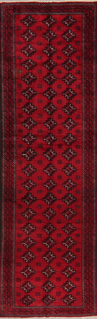 Vintage Geometric Red Balouch Persian Runner Rug 3x10