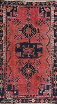 Antique Geometric Hamedan Persian Area Rug 4x7