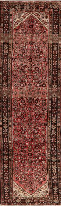 Vintage Geometric Red Hamedan Persian Runner Rug 3x11