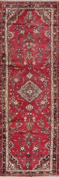 Vintage Floral Red Malayer Persian Runner Rug 4x10
