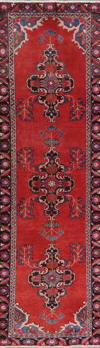 Vintage Geometric Red Mahal Persian Runner Rug 3x10