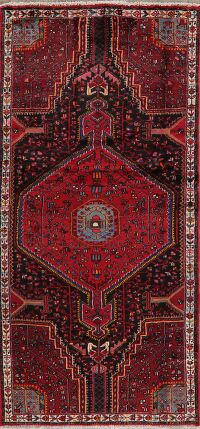 Black Geometric Zanjan Persian Runner Rug 4x8