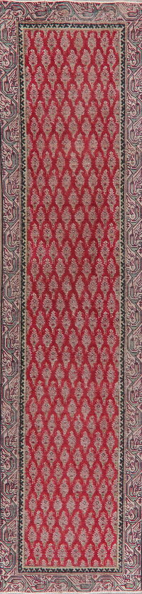 Antique Red Geometric Tabriz Persian Runner Rug 3x12