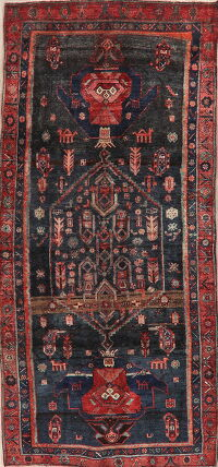 Tribal Geometric Bidjar Persian Runner Rug 4x9
