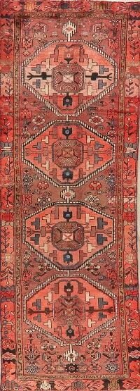 Antique Geometric Red Hamedan Persian Runner Rug 3x9