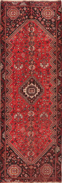 Antique Pre-1900 Red Shiraz Persian Runner Rug 3x10