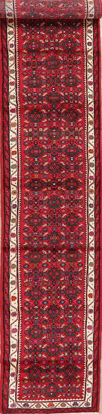 Geometric Red Hamedan Persian Runner Rug 3x14