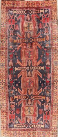 Antique Geometric Meshkin Persian Runner Rug 4x10