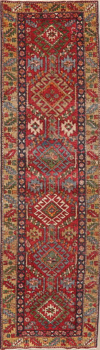 Antique Geometric Red Heriz Persian Runner Rug 3x9