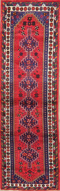 Red Geometric Shiraz Persian Runner Rug 3x10