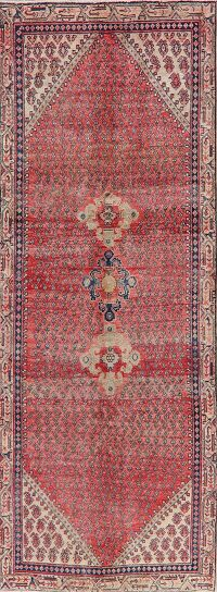 Antique Geometric Botemir Persian Runner Rug 4x10