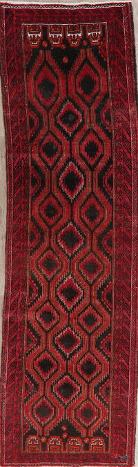 Vintage Geometric Balouch Persian Runner Rug 3x10