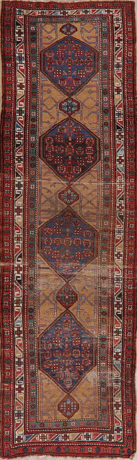 Antique Pre-1900 Vegetable Dye Heriz Bakhshayesh Persian Rug 4x13