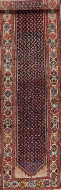 Antique Geometric Heriz Persian Runner Rug 3x15