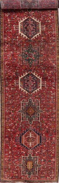 Antique Geometric Gharajeh Persian Runner Rug 3x13