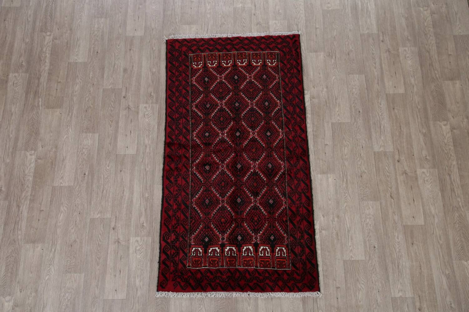 Geometric Red Balouch Oriental Runner Rug 3x7 image 2