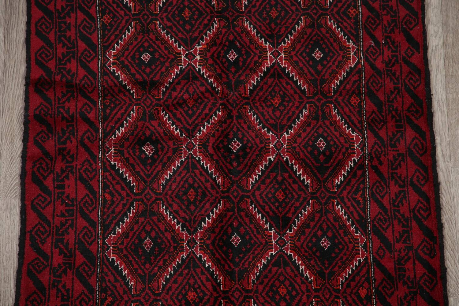 Geometric Red Balouch Oriental Runner Rug 3x7 image 4