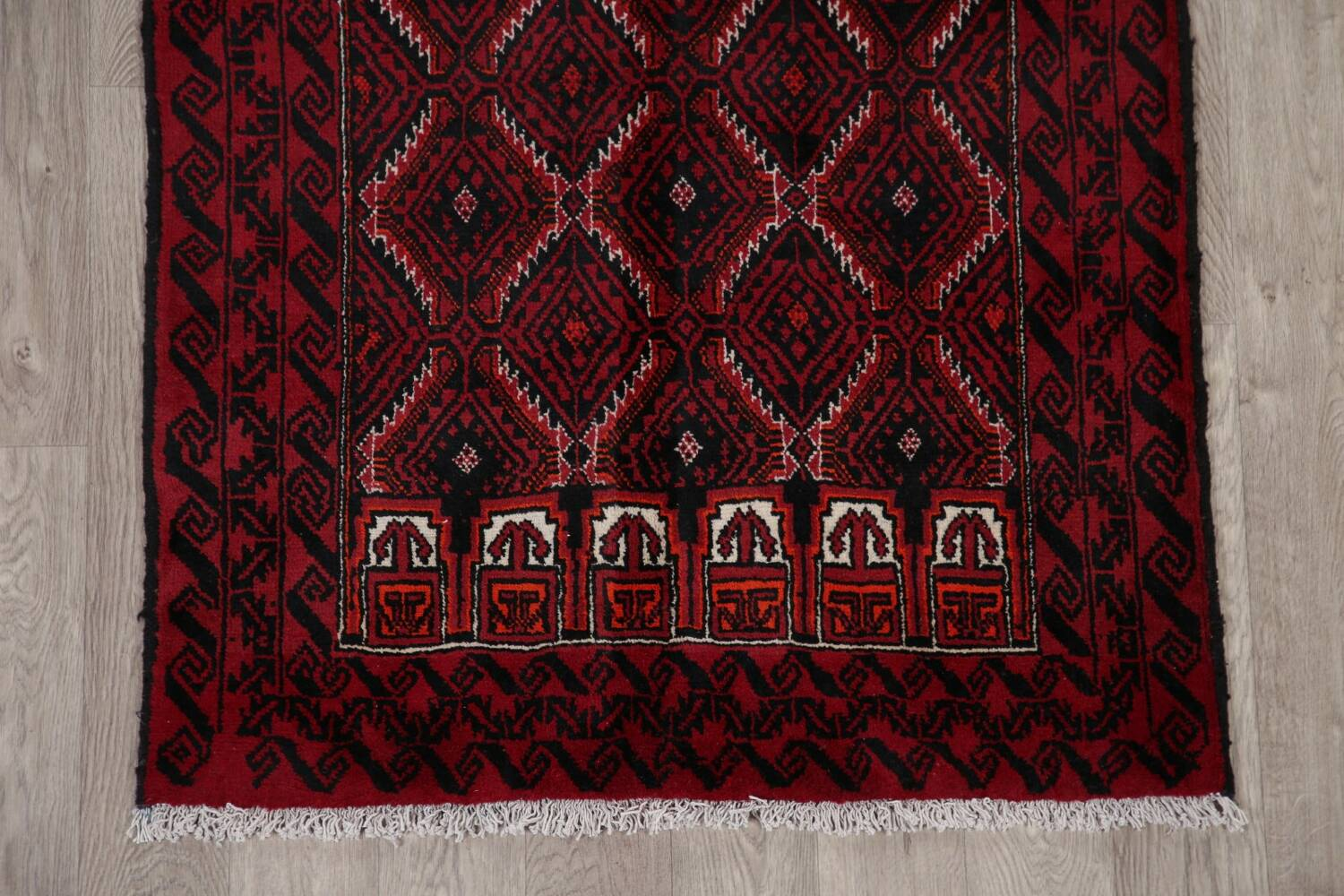 Geometric Red Balouch Oriental Runner Rug 3x7 image 8