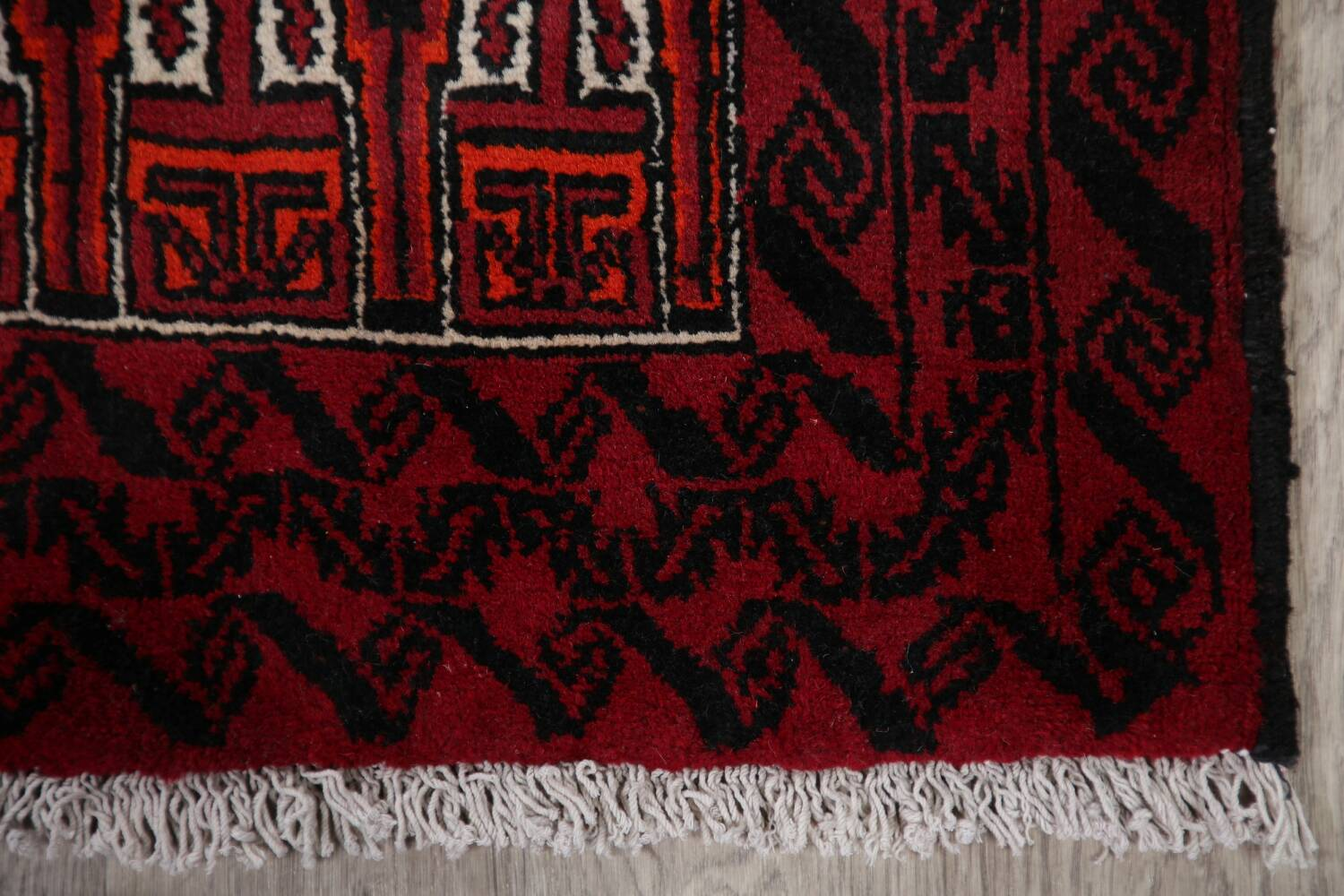 Geometric Red Balouch Oriental Runner Rug 3x7 image 5