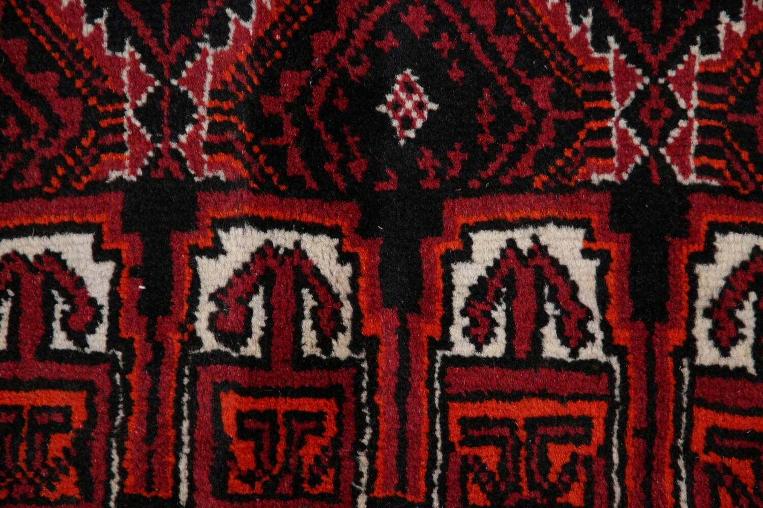 Geometric Red Balouch Oriental Runner Rug 3x7 image 10
