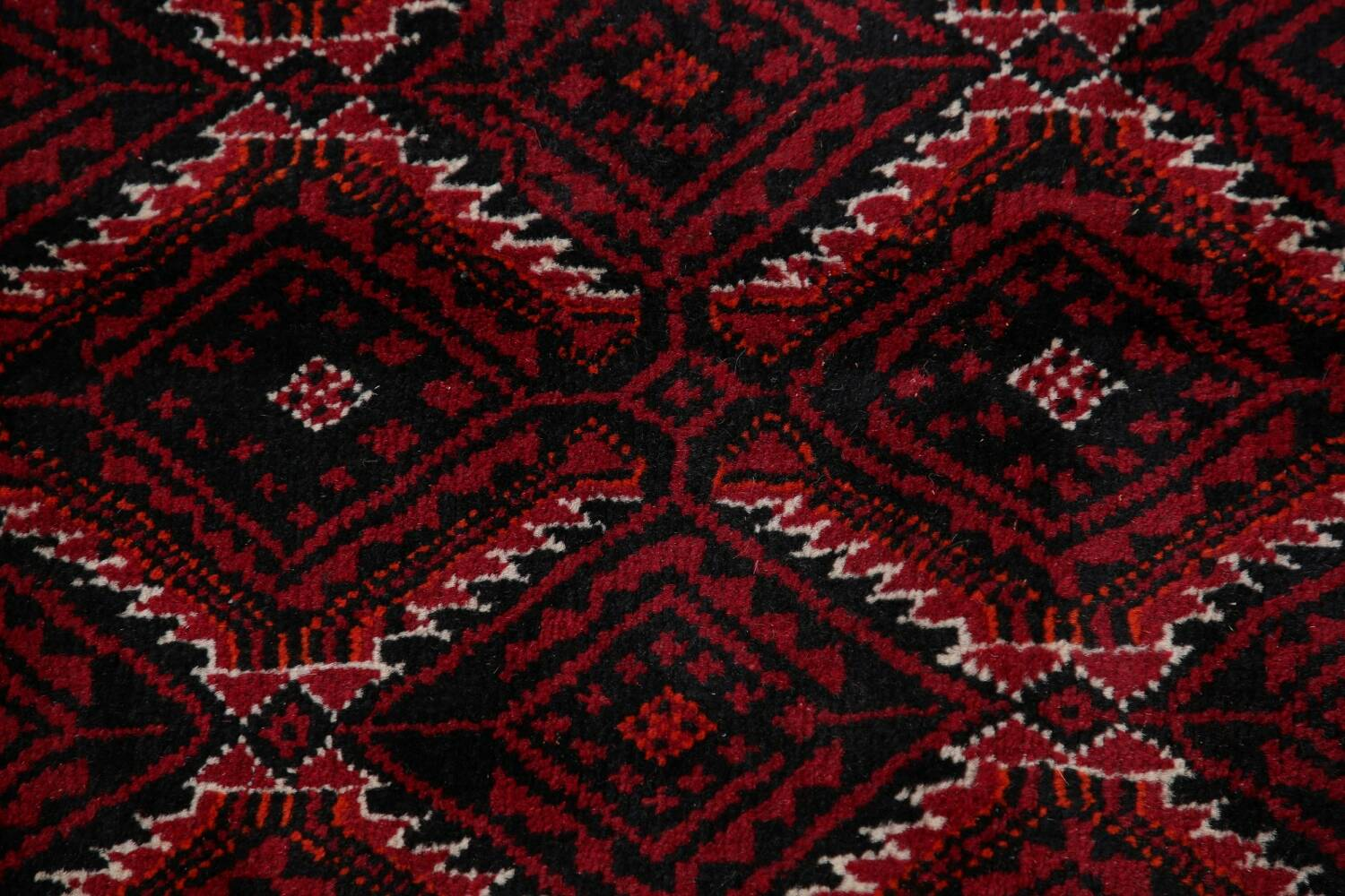 Geometric Red Balouch Oriental Runner Rug 3x7 image 11