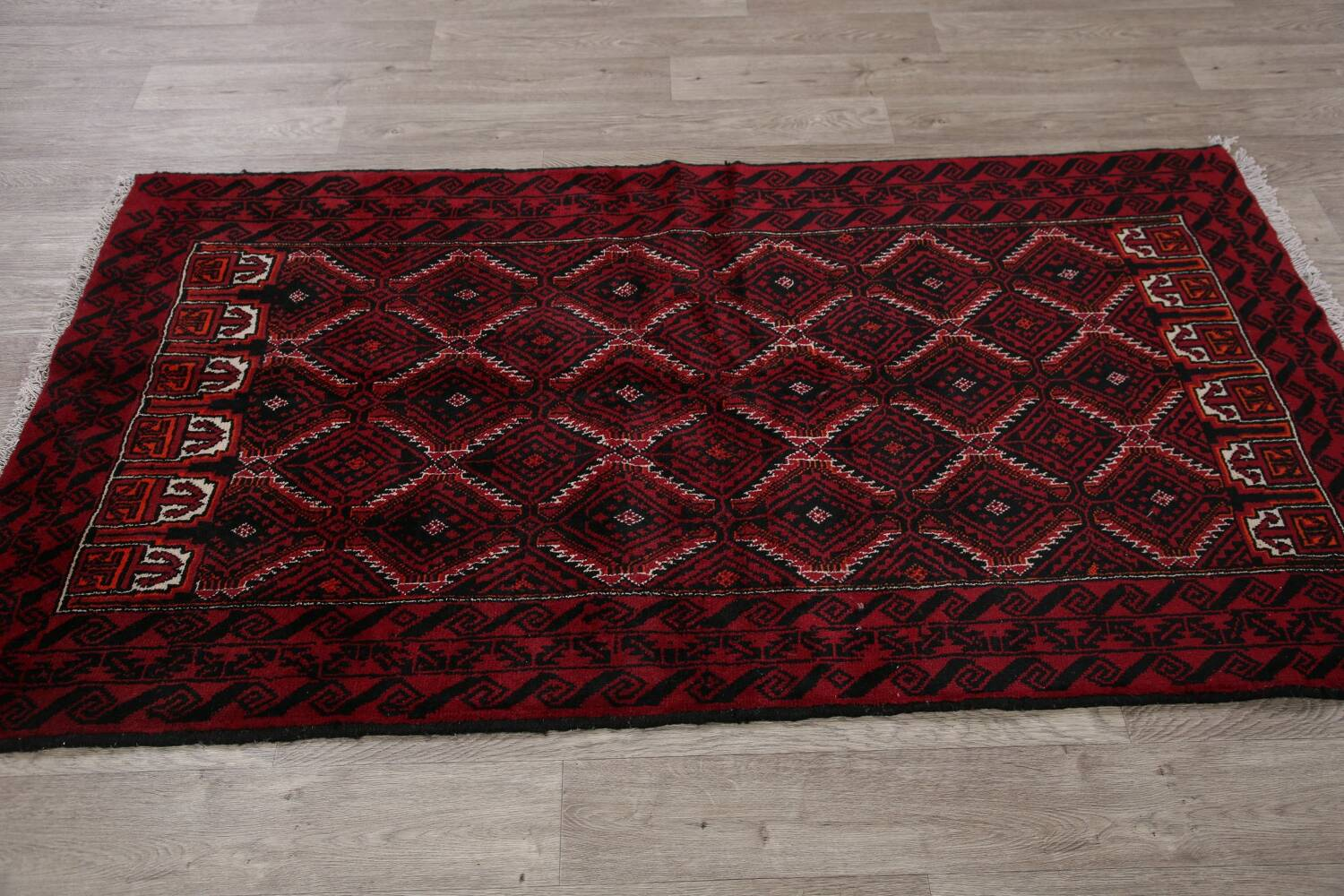 Geometric Red Balouch Oriental Runner Rug 3x7 image 14