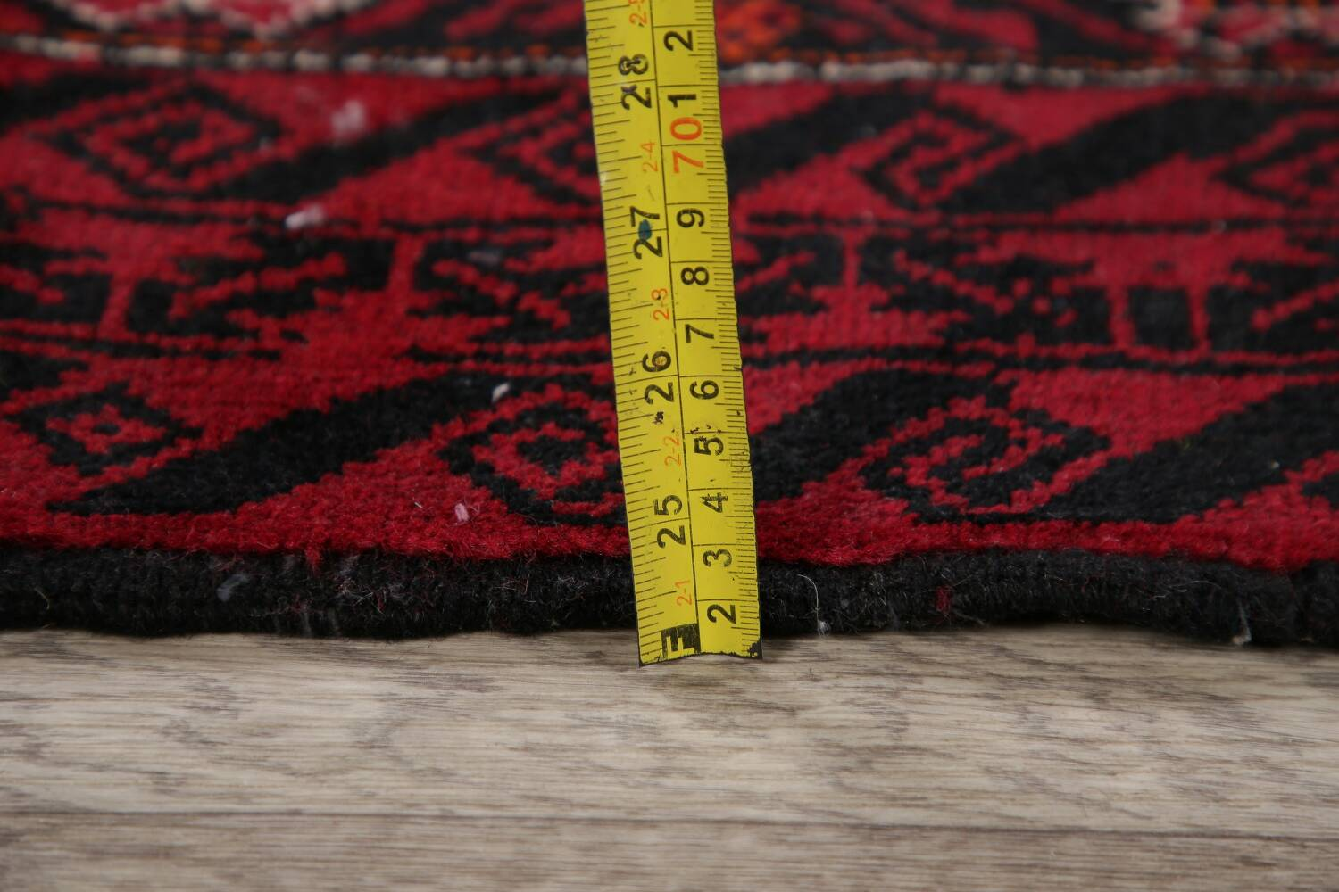 Geometric Red Balouch Oriental Runner Rug 3x7 image 19
