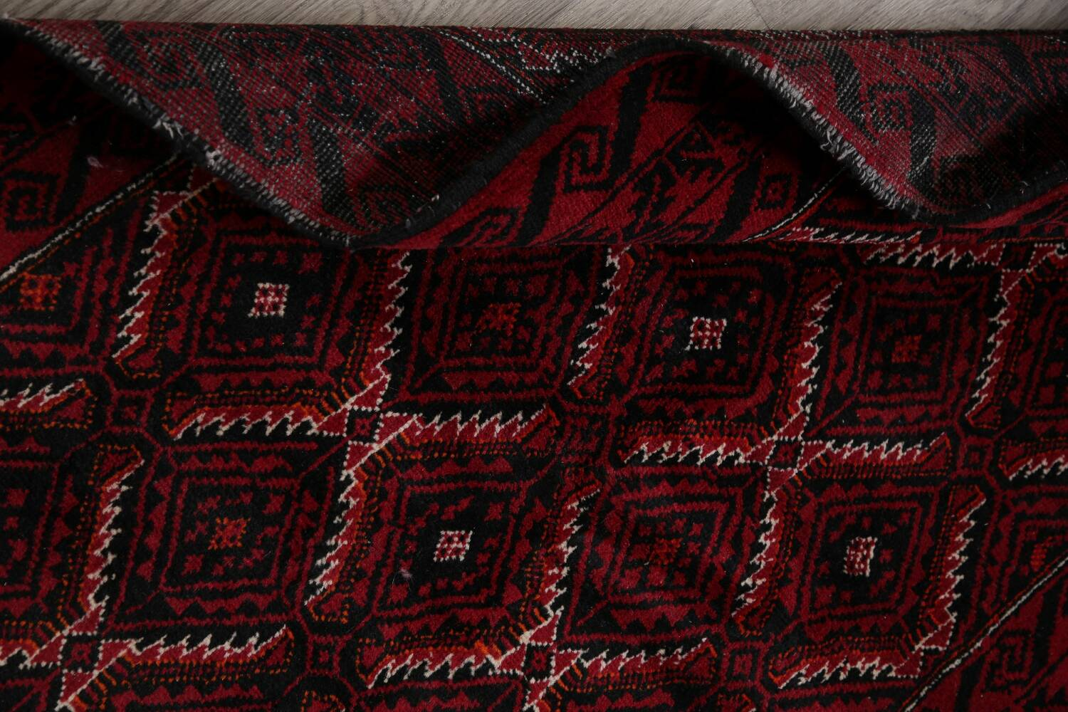 Geometric Red Balouch Oriental Runner Rug 3x7 image 17