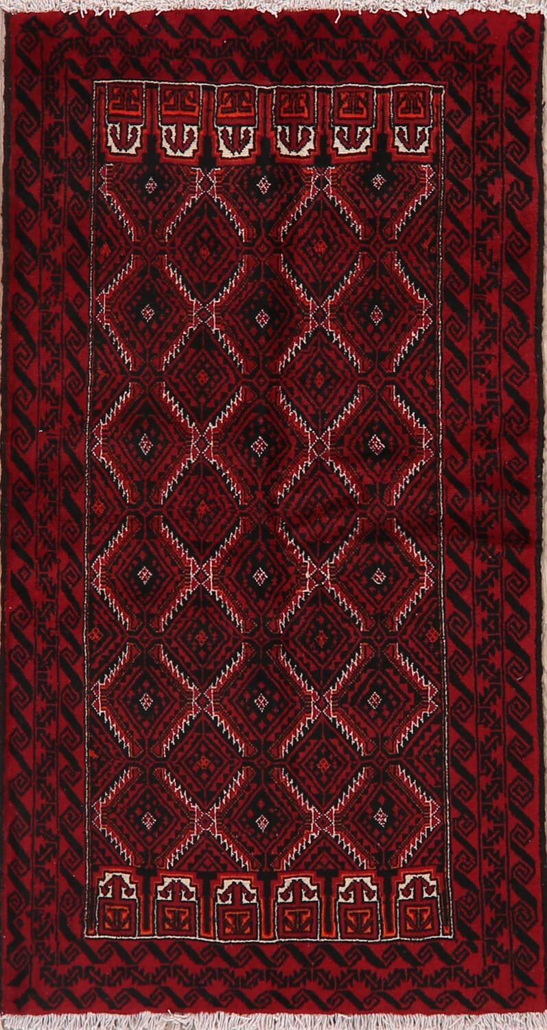 Geometric Red Balouch Oriental Runner Rug 3x7 image 1