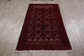 Geometric Red Balouch Oriental Runner Rug 3x7 image 15