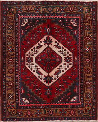 Geometric Red Heriz Persian Area Rug 4x5