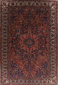 Antique Geometric Bakhtiari Persian Area Rug 12x18 Large