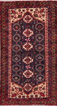 Navy Blue Tribal Balouch Oriental Area Rug 3x6
