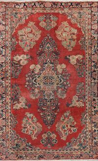 Antique Floral Sarouk Red Persian Area Rug 4x7