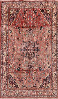 Vintage Floral Sarouk Red Persian Area Rug 4x7