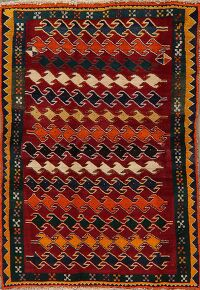 Geometric Gabbeh Red Persian Area Rug 4x6