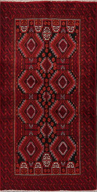 Geometric Red Balouch Persian Area Rug 3x6
