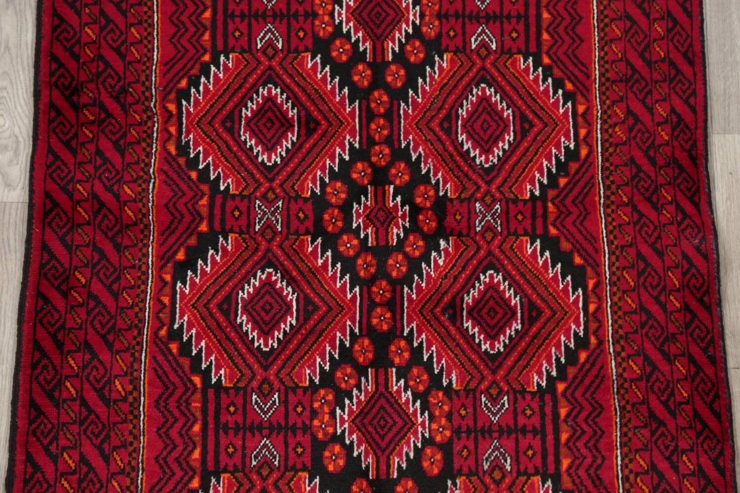 Geometric Red Balouch Persian Area Rug 3x6 image 4
