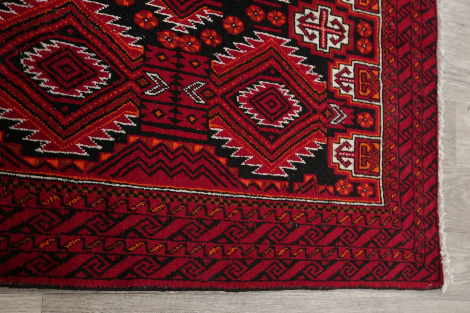 Geometric Red Balouch Persian Area Rug 3x6 image 14