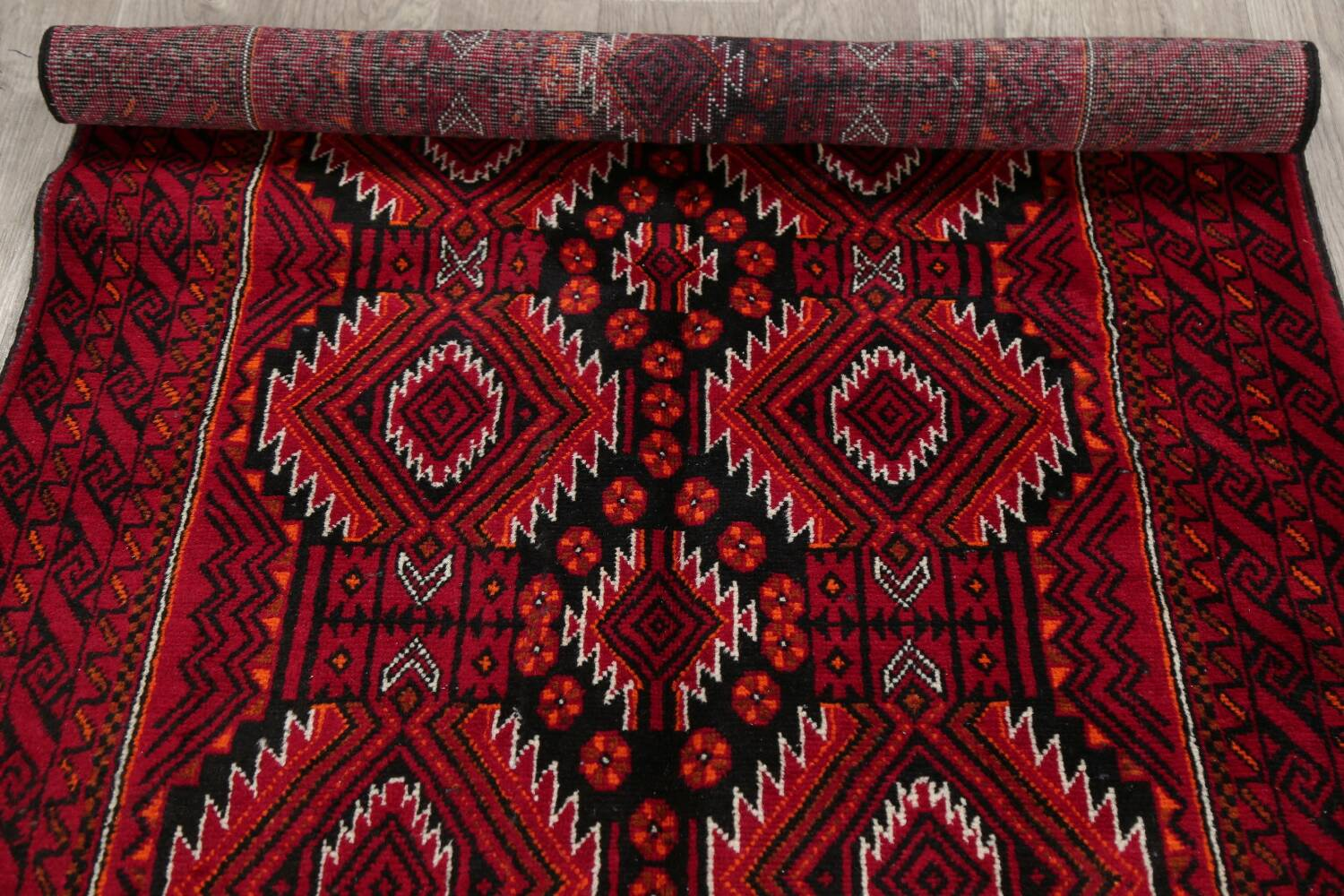 Geometric Red Balouch Persian Area Rug 3x6 image 17