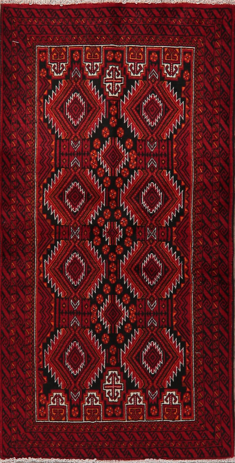 Geometric Red Balouch Persian Area Rug 3x6 image 1