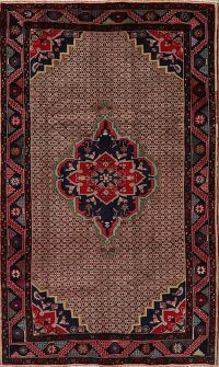 Brown Geometric Ardebil Persian Area Rug 4x7