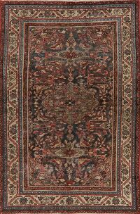 Pre-1900 Antique Bidjar Halvaei Persian Area Rug 4x6