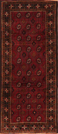 Geometric Red Zanjan Persian Runner Rug 4x9