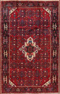 Vintage Geometric Red Malayer Persian Area Rug 5x8