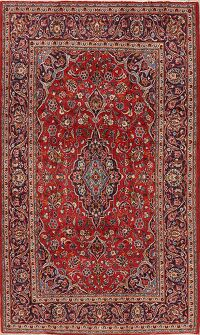 Traditional Floral Red Kashan Persian Area Rug 5x8
