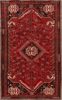 Red Tribal Geometric Shiraz Persian Area Rug 5x9