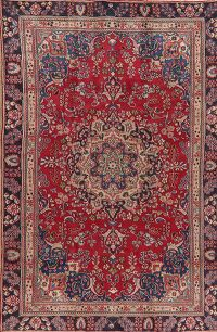 Vintage Floral Red Mashad Persian Area Rug 6x9