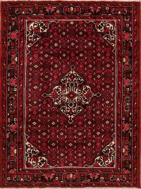 Geometric Red Hamedan Persian Area Rug 5x7